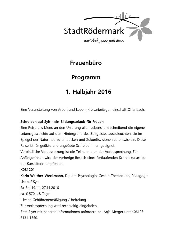 Frauenbüro Programm 1. Halbjahr 2016 Eine Veranstaltung von