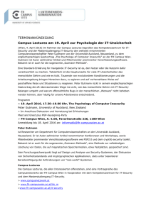 Campus Lectures am 19. April zur Psychologie