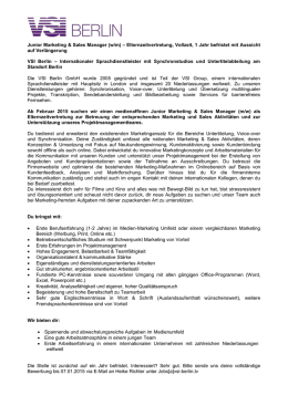 Stellenbeschreibung Senior Online Marketing Manager
