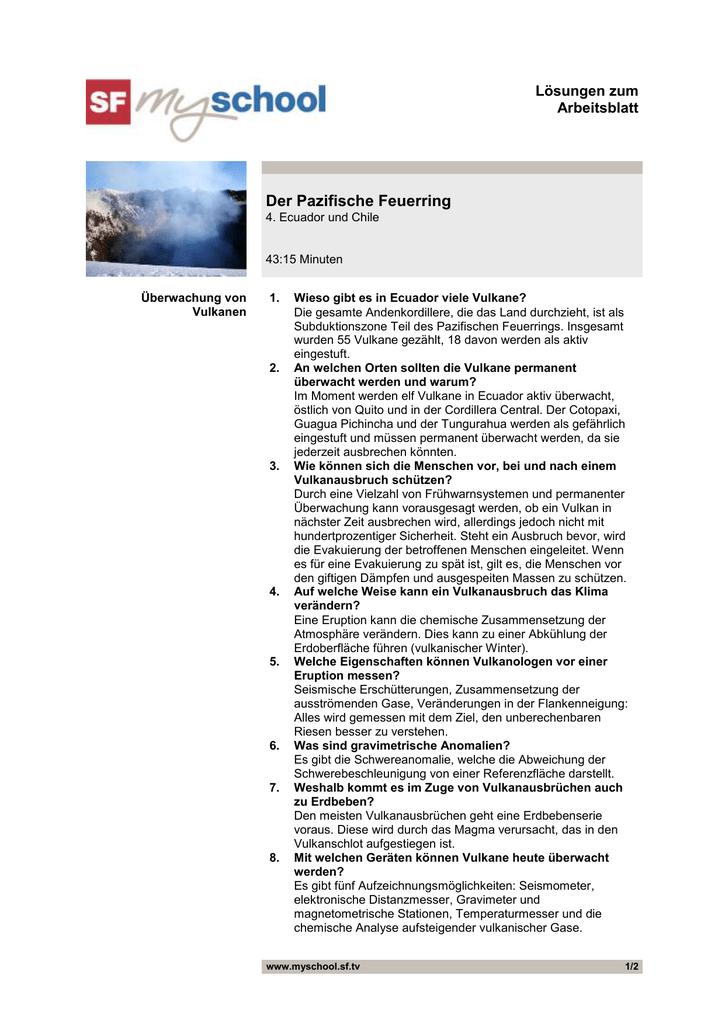 Der Pazifische Feuerring, Folge 4, Arbeitsblatt Lösungen