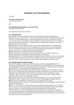 sozialplan bei personalabbau - Muster Betriebsvereinbarung