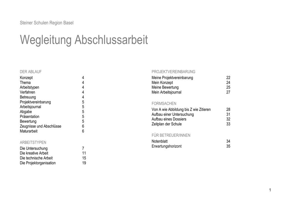 Steiner Schulen Region Basel Wegleitung Abschlussarbeit 1 1 DER