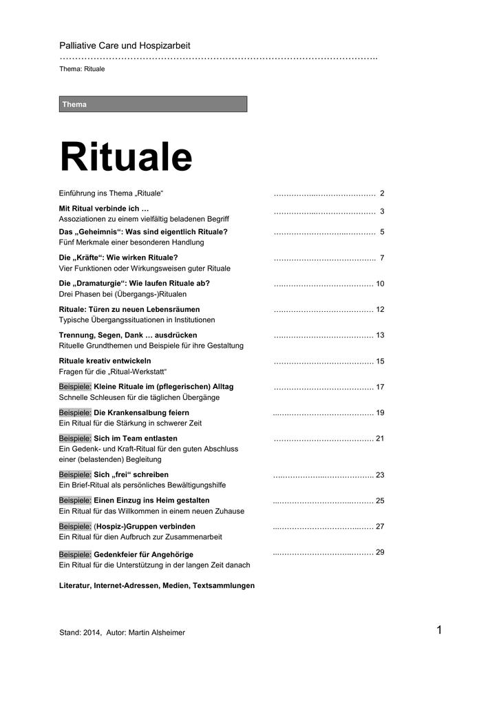 Alsheimer PP-Kursmaterial Thema Rituale Themenheft