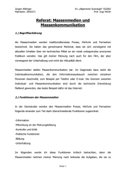 Referat: Massenmedien und Massenkommunikation