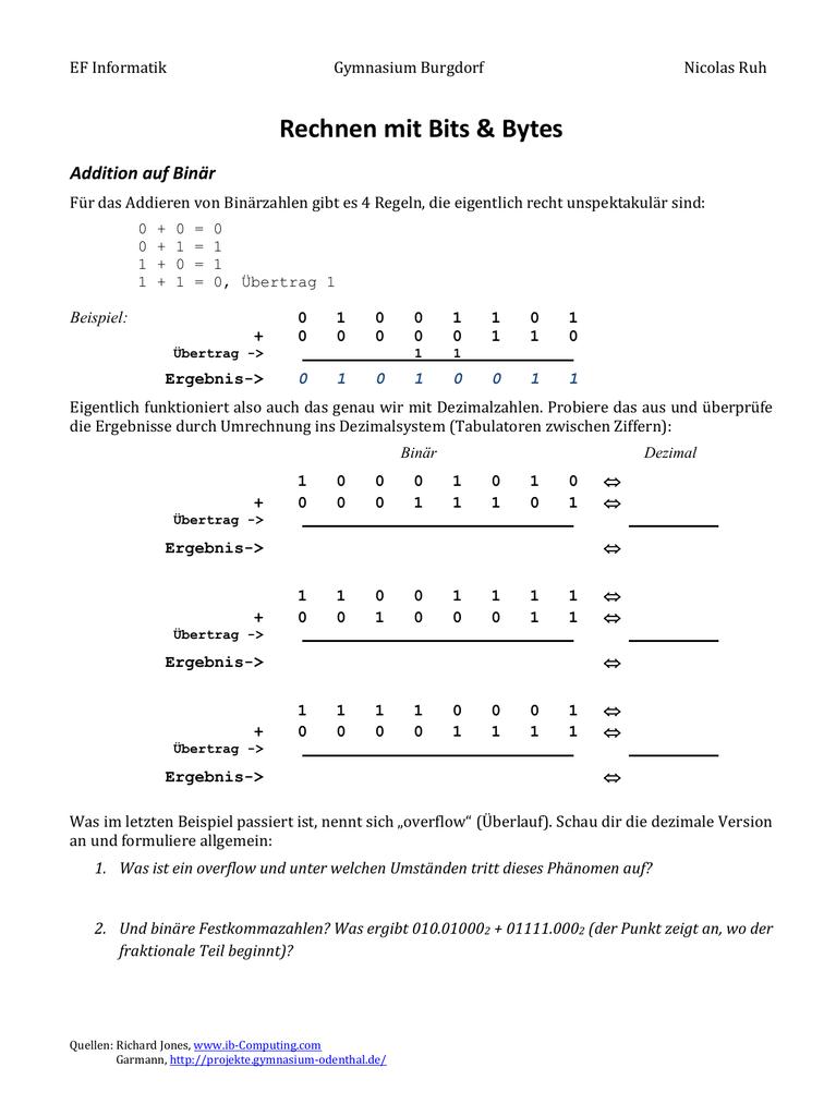 binär rechnen
