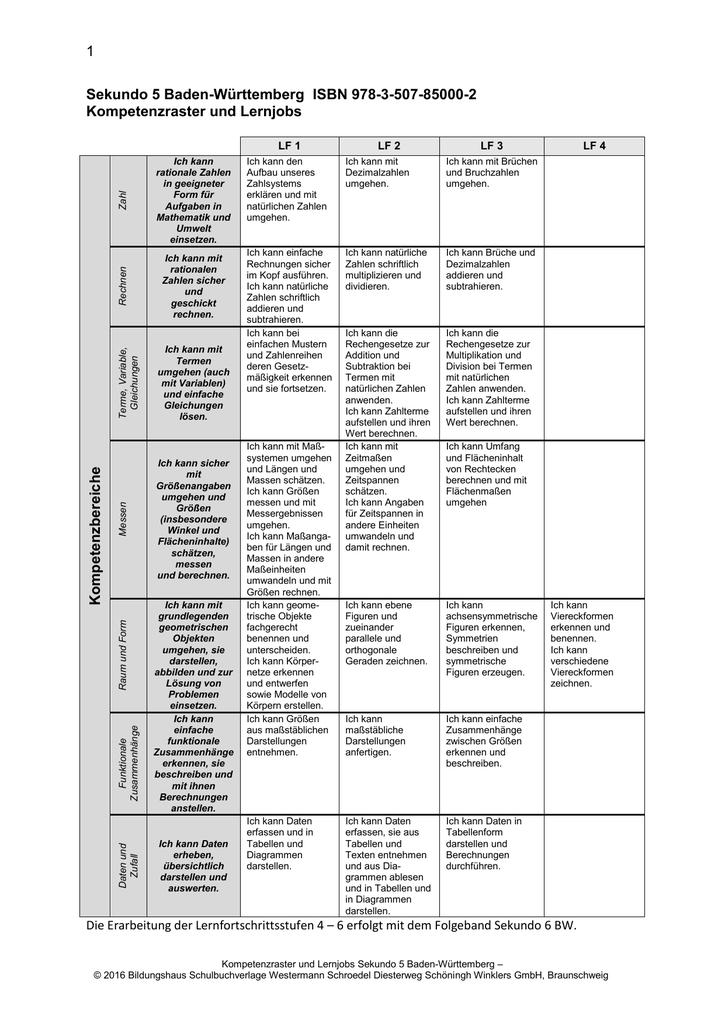 Kompetenzraster und Lernjobs Sekundo 5 BW