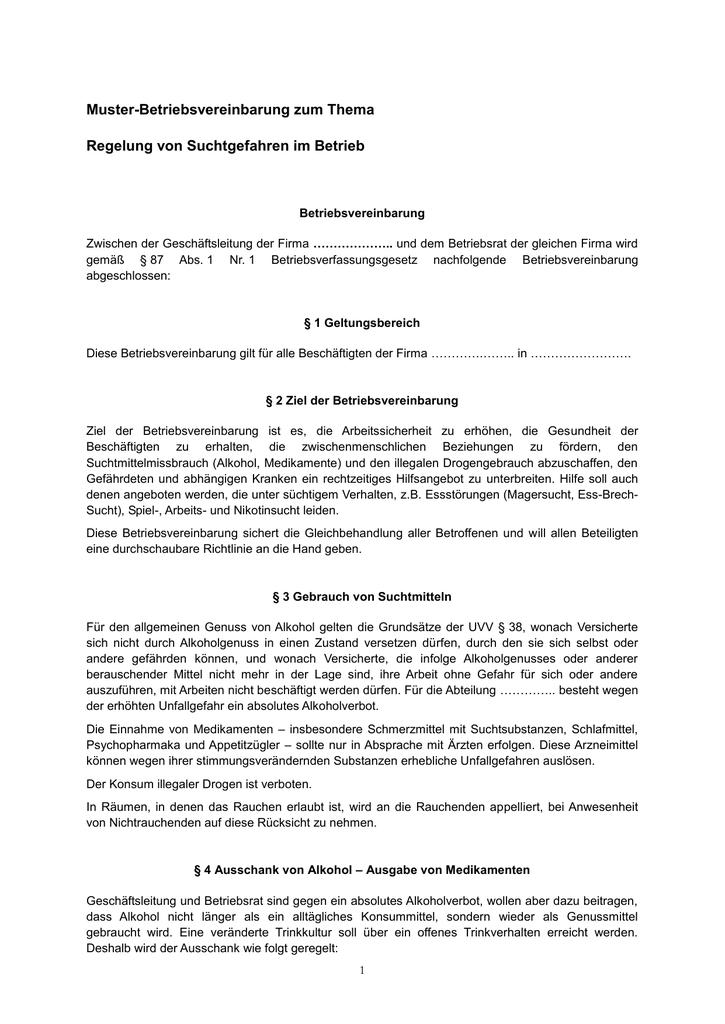 muster betriebsvereinbarung als word dokument br wiki - Muster Betriebsvereinbarung