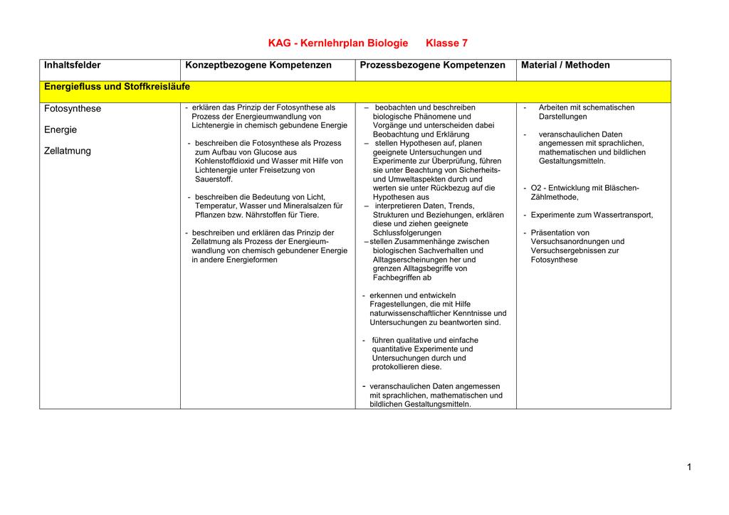 Lehrplan für die Klasse 7 - Konrad Adenauer Gymnasium Kleve KAG