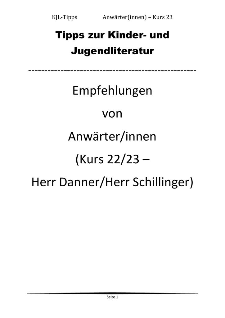 KJL-Tipps Anwärter(innen) – Kurs 23