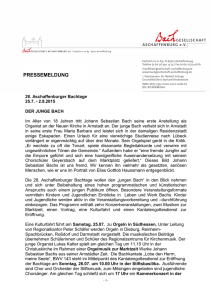 Bachtage 2015 Pressetext lang