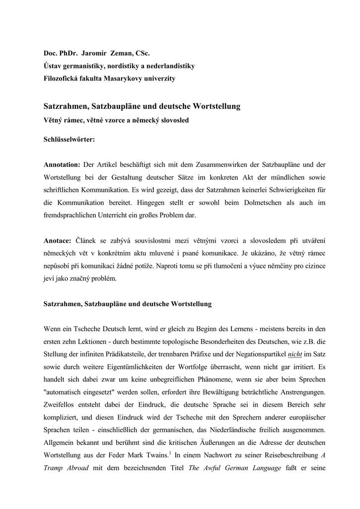 Satzrahmen, Satzbaupläne und deutsche Wortstellung