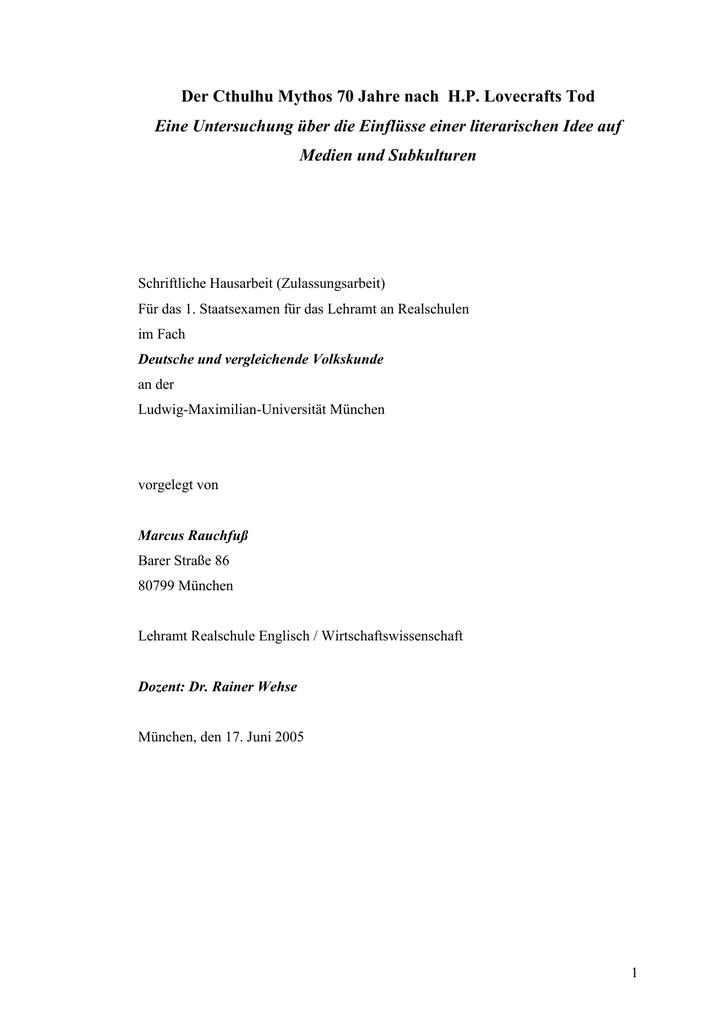 Zulassungsarbeit 1 Staatsexamen Thema Der