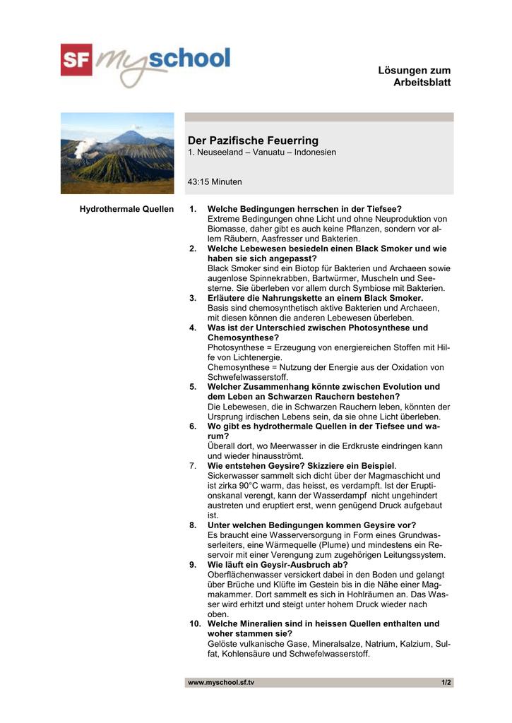 Der Pazifische Feuerring, Folge 1, Arbeitsblatt Lösungen