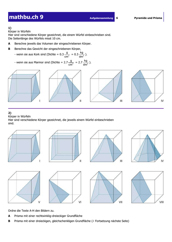 9 aufgabensammlung 6 pyramide und prisma 1 k rper. Black Bedroom Furniture Sets. Home Design Ideas