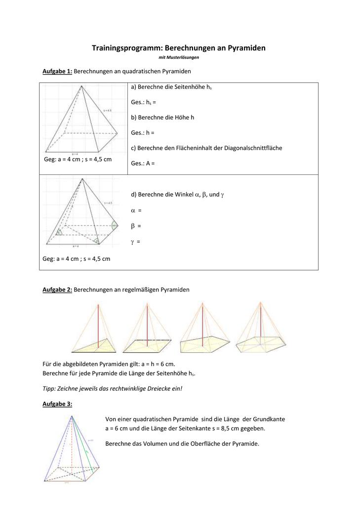 Arbeitsblatt mit Lösungen: Berechnungen an Pyramiden