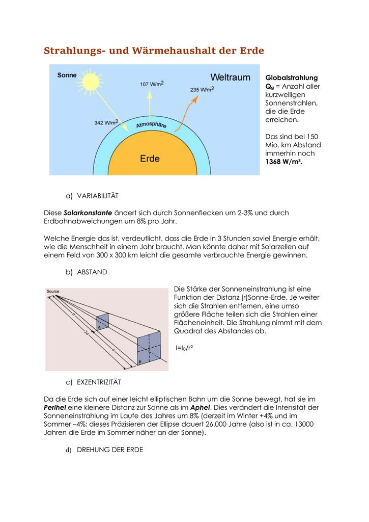 Strahlungs- und Wärmehaushalt der Erde
