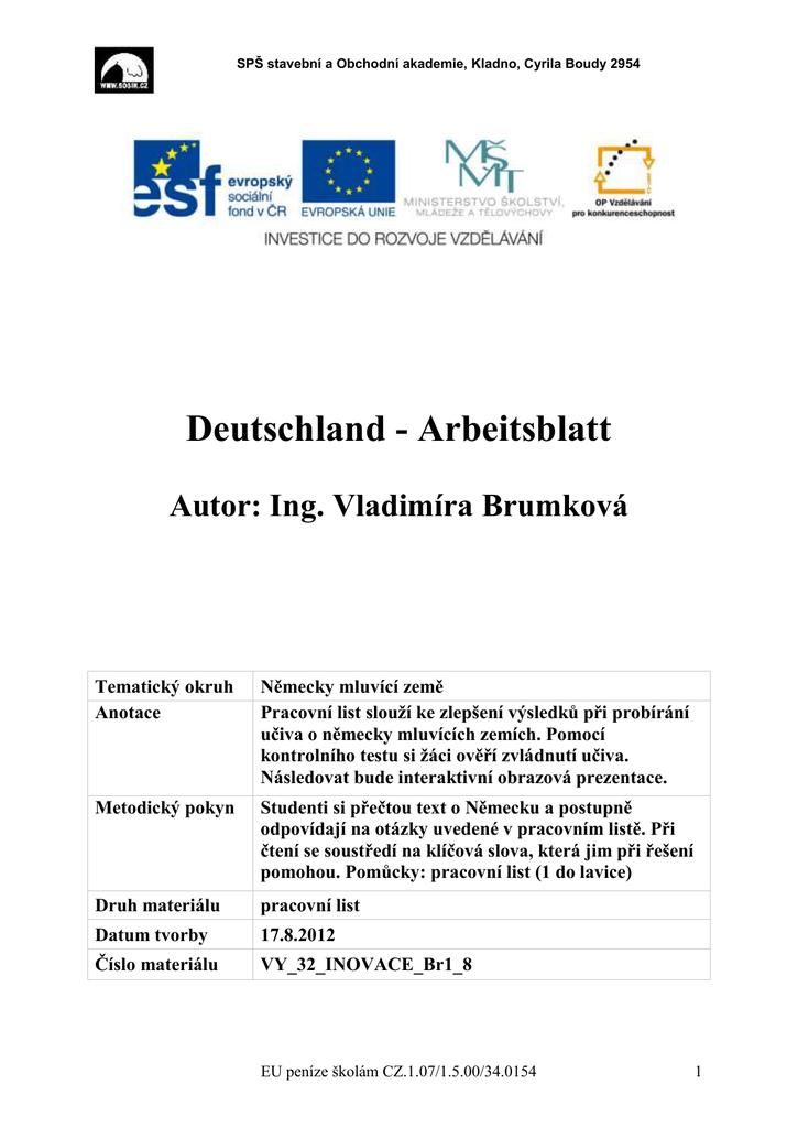 Deutschland - Arbeitsblatt Autor: Ing. Vladimíra Brumková Tematický