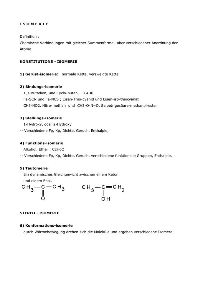 I S O M E R I E Definition Chemische Verbindungen Mit Gleicher