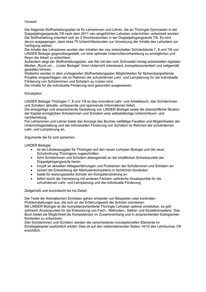 Stoffverteilungsplan Linder Biologie 7/8 Thüringen