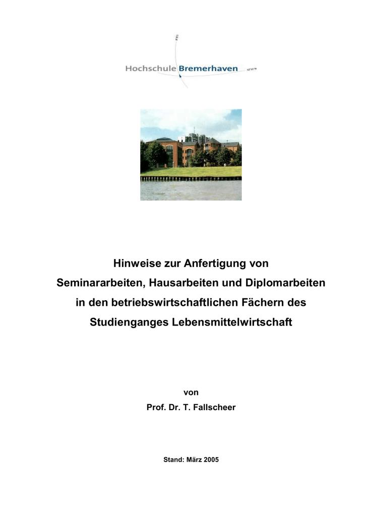 Und Diplomarbeiten Hochschule Bremerhaven