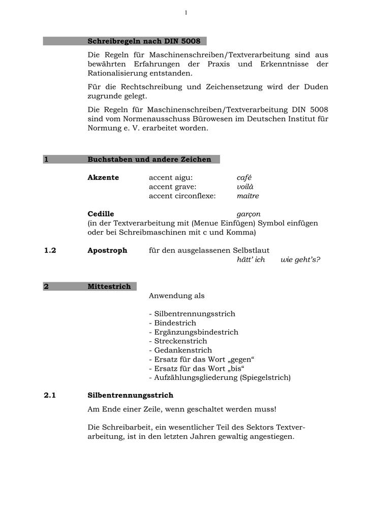 Schreibtechnik Din 5008 Europa