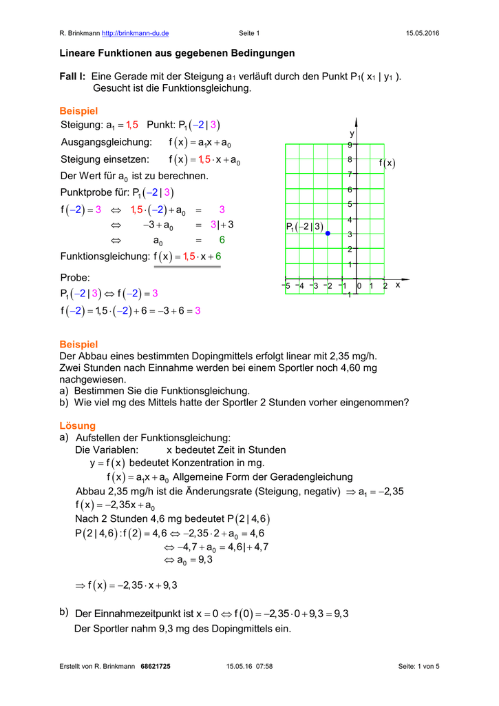 Lineare Funktionen aus gegebenen Bedingungen