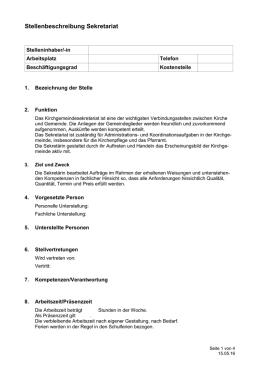 vorlage stellenbeschreibung sekretrin - Muster Stellenbeschreibung