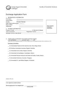 Exchange Application Form 1. BIOGRAPHICAL INFORMATION First