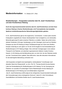 Medieninformation 14. Oktober 2011, Wien Strahlentherapie