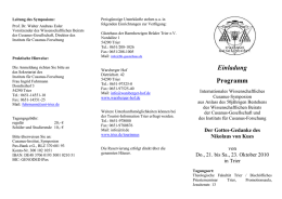 Leitung des Symposions: Prof. Dr. Walter Andreas Euler