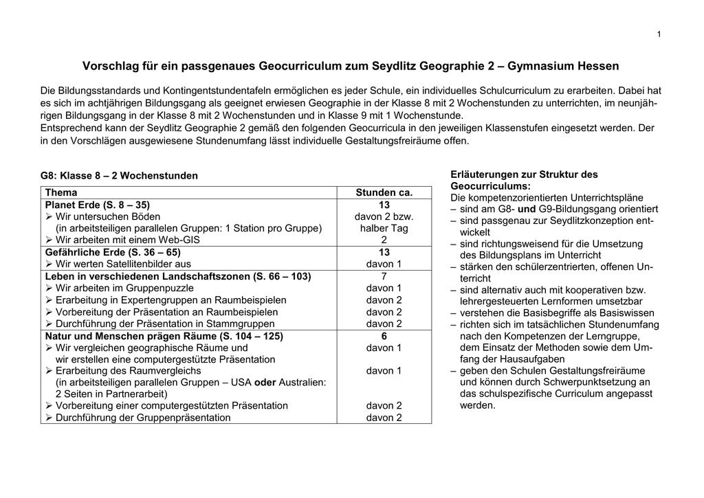 Kompetenzorientierter Unterrichtsplan Seydlitz Hessen 2
