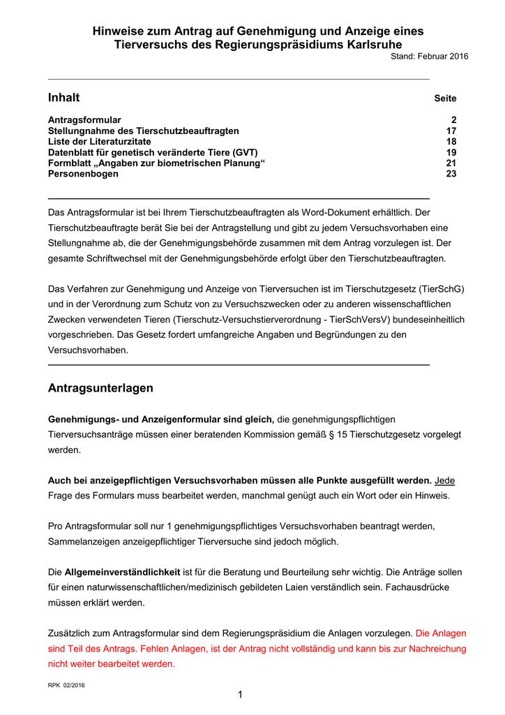 Anleitung Antrag/Anzeige Versuchsvorhaben