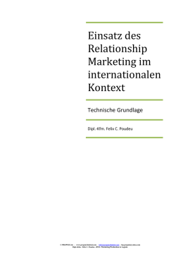 Einsatz des Relationship Marketing im internationalen Kontext