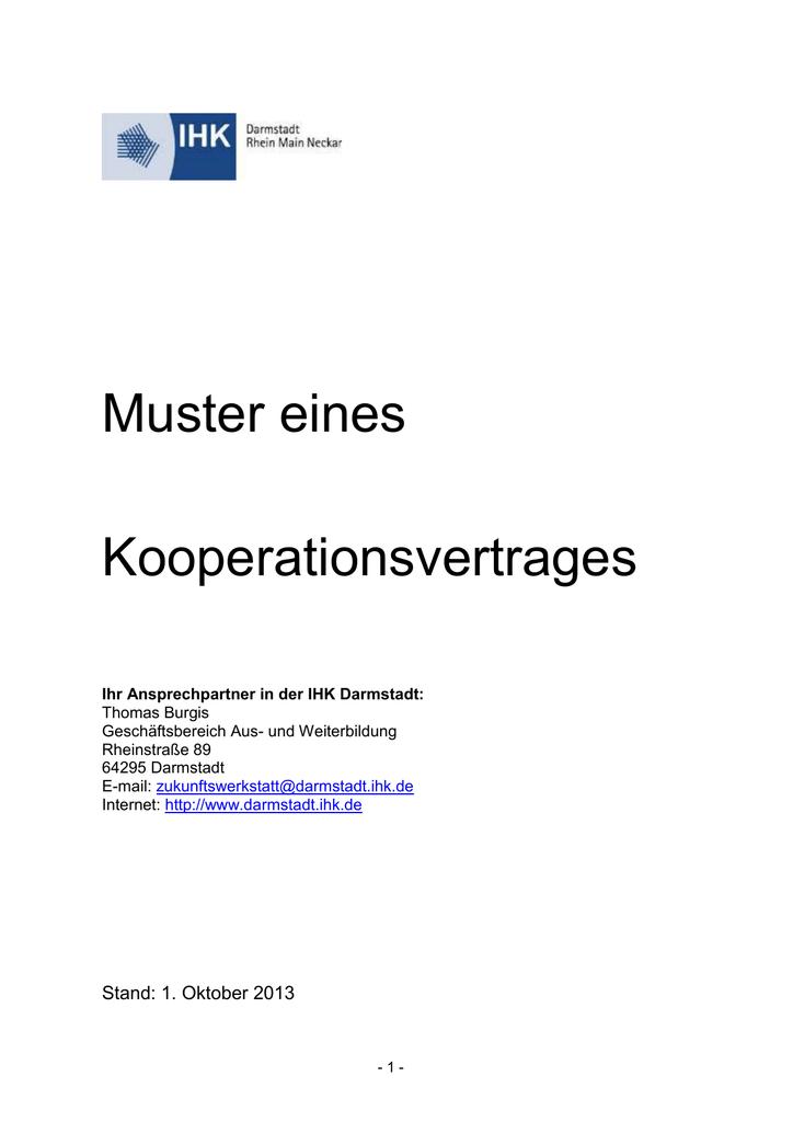 Mustervertrag Kooperationen Doc 33 Kb Ihk