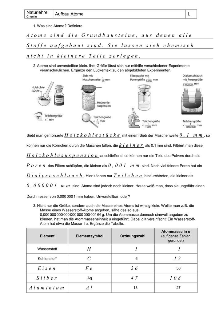 Nice Atome Ionen Und Isotopen Arbeitsblatt Antworten Image ...