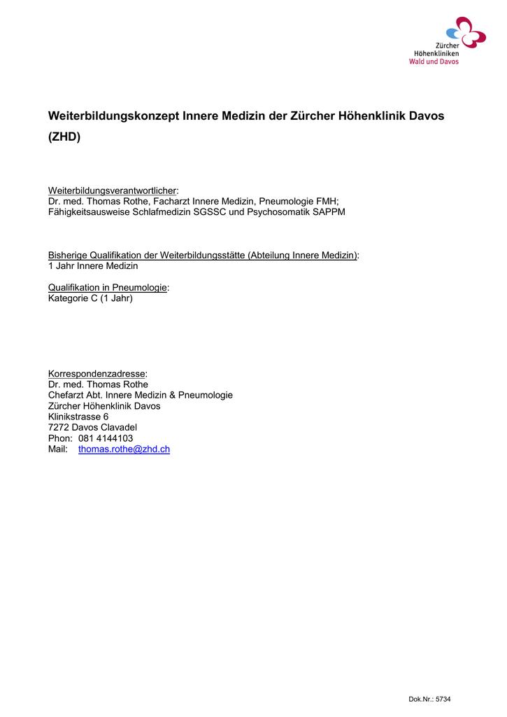 Weiterbildungskonzept Innere Medizin ZHD Davos