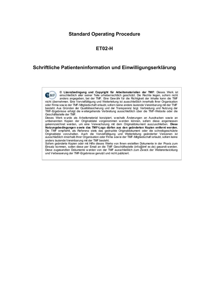 SOP für klinische Studien: Schriftliche Patienteninformation und