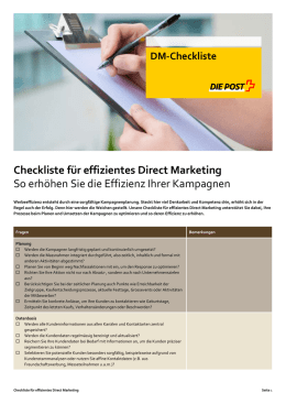 Checkliste für effizientes Direct Marketing