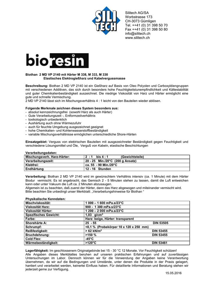 06c350f32e420 Biothan 2 MD VP 2140 mit Härter M 338, M 333, M 330 Elastisches