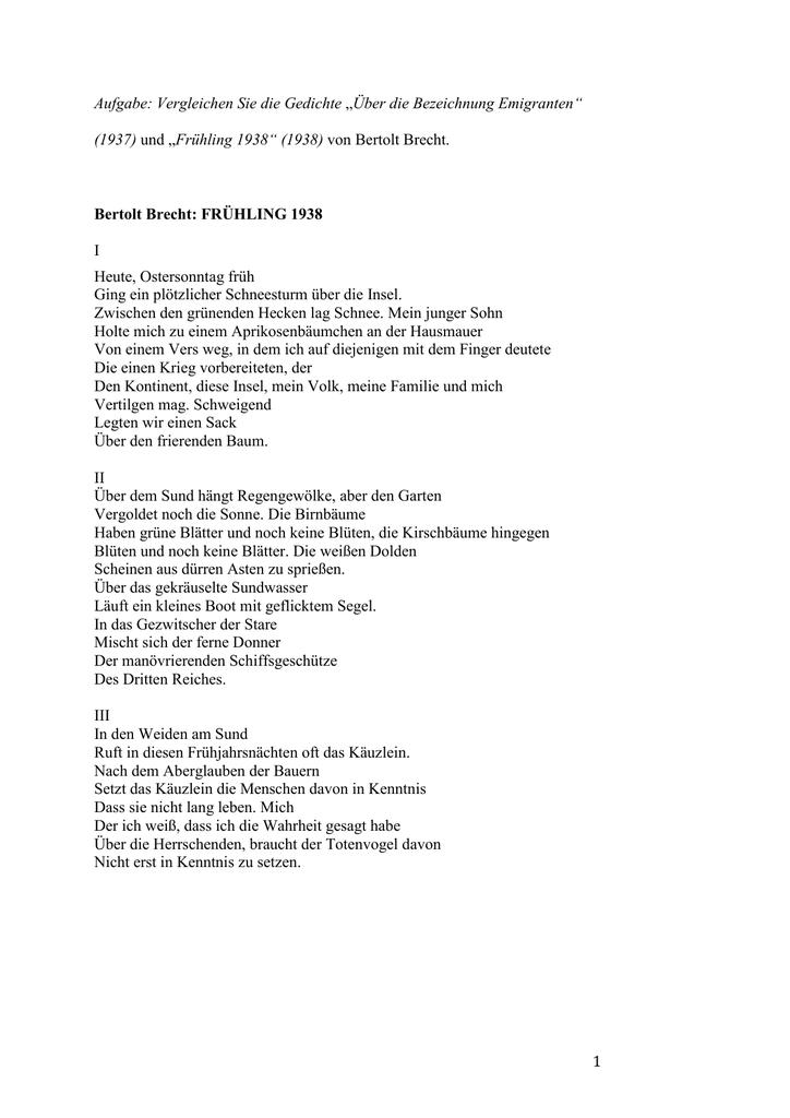bertolt brecht bekannte gedichte