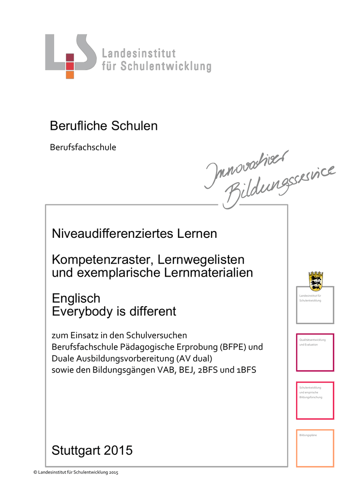 Lernmaterial Englisch Everybody is different