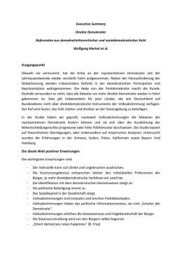 Executive Summary Direkte Demokratie: Referenden aus