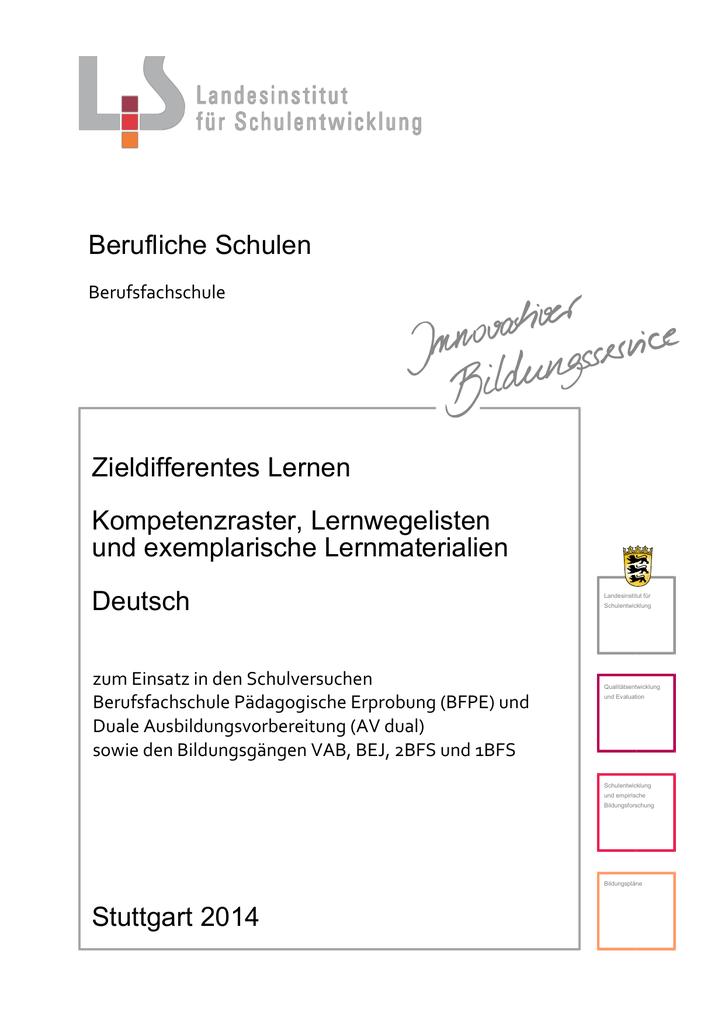 Lernmaterial Deutsch I - Landesbildungsserver Baden
