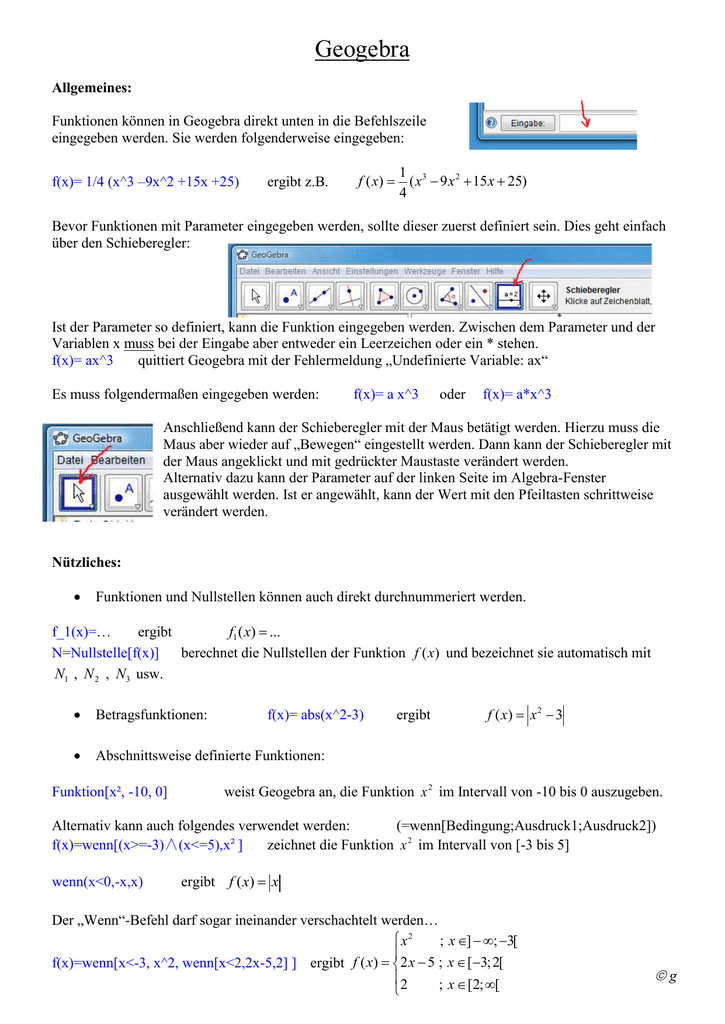 abschnittsweise definierte funktion parameter