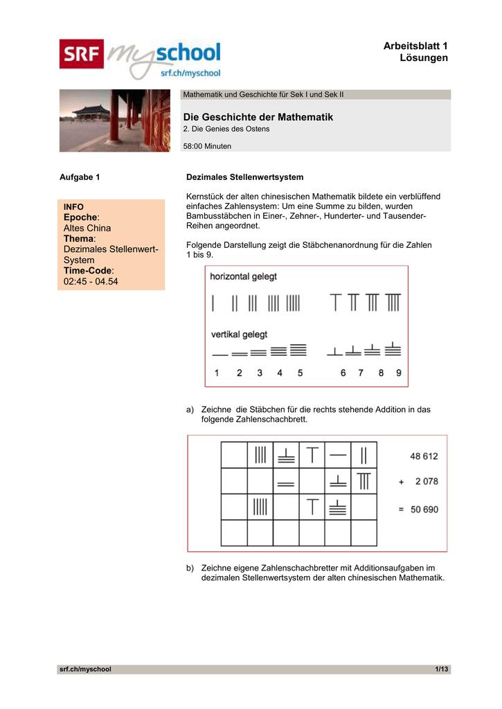 Arbeitsblatt 1 Lösungen