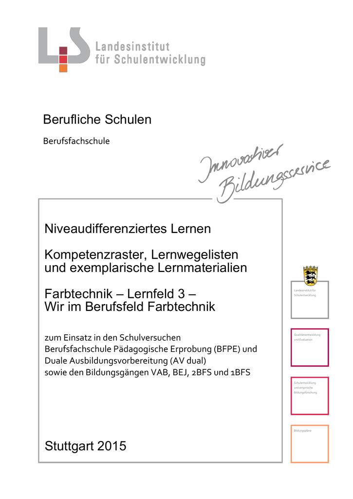 Wir im Berufsfeld Farbtechnik - Landesbildungsserver Baden