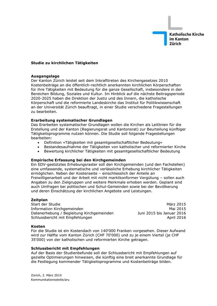 Studie zu kirchlichen Tätigkeiten - Katholische Kirche im Kanton Zürich