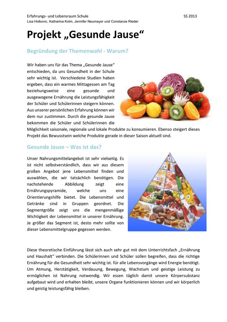 Wichtigkeit einer gesunden Ernährung