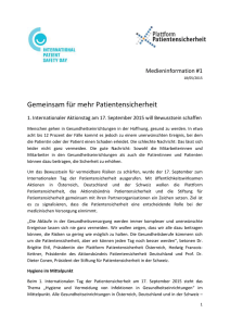 Pressetext - 1. Internationaler Tag der Patientensicherheit