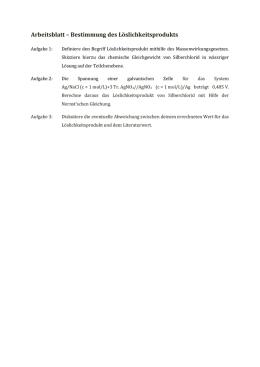 Arbeitsblatt – Das Löslichkeitsprodukt von Calciumhydroxid